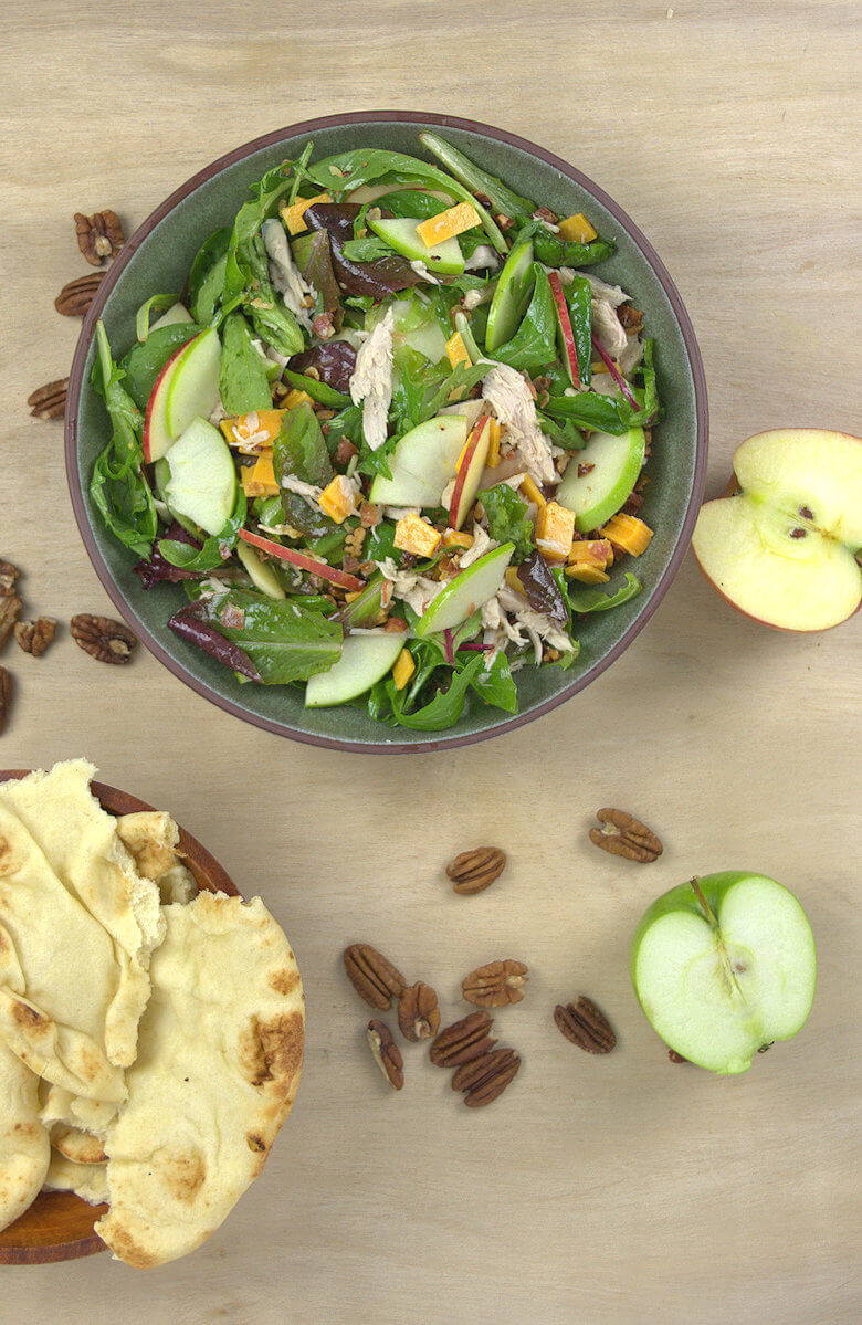 Picture of Apple Cheddar Turkey Salad with fixings