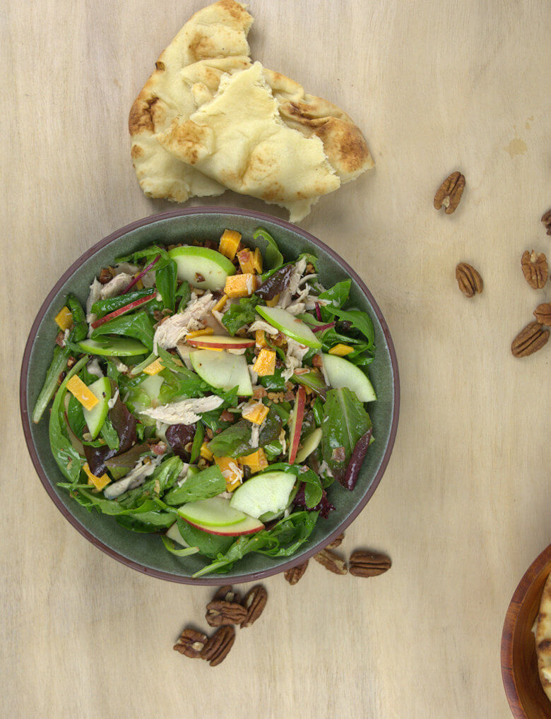 Salad, bread and nuts