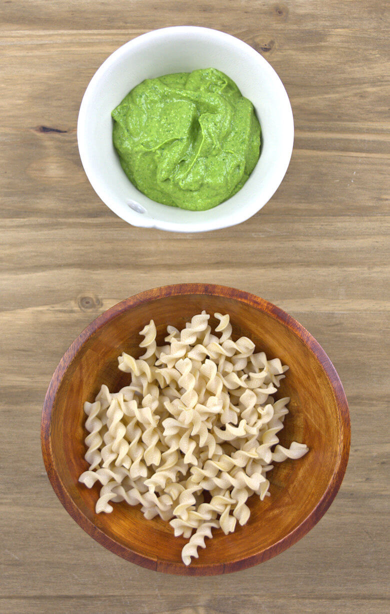 Picture of dry pasta (fusilli) and avocado spinach sauce