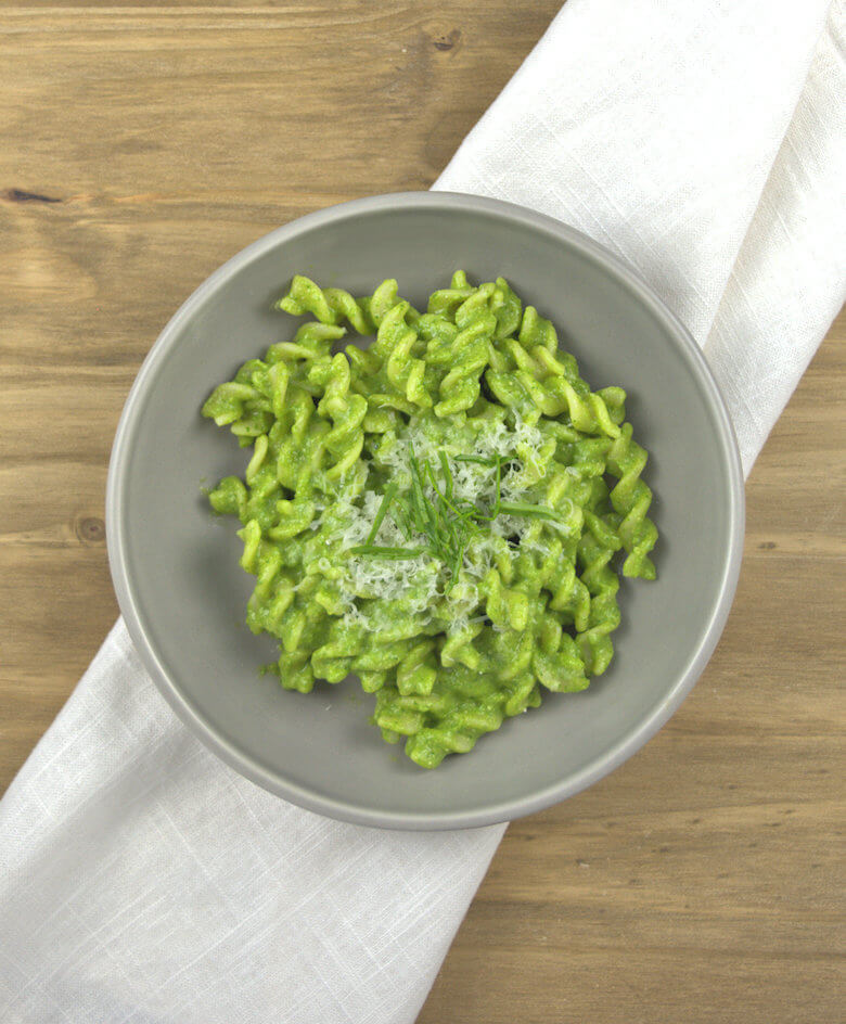 Picture of No Guilt Avocado Spinach Pasta, top down