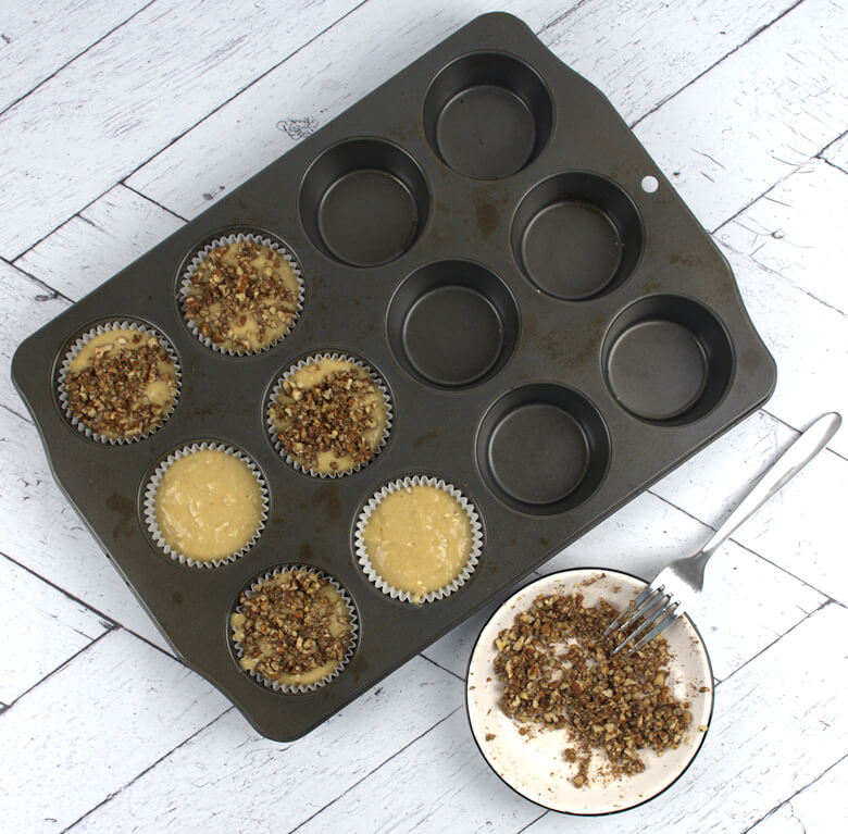 Muffin mix in muffin pan
