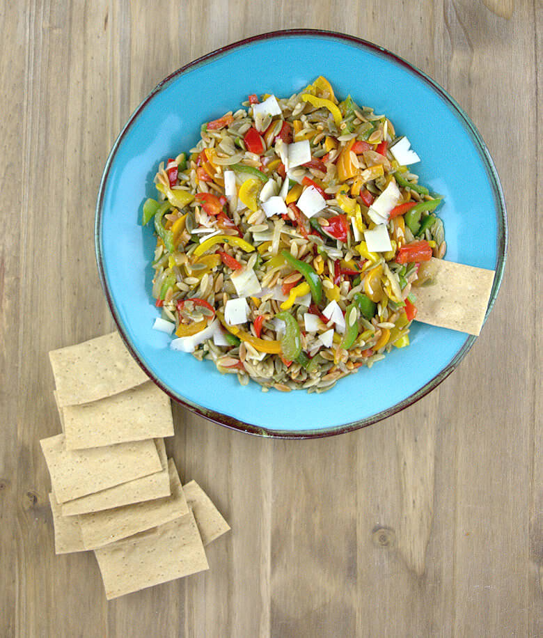 Picture of a plate of Bell Pepper Orzo salad with crackers