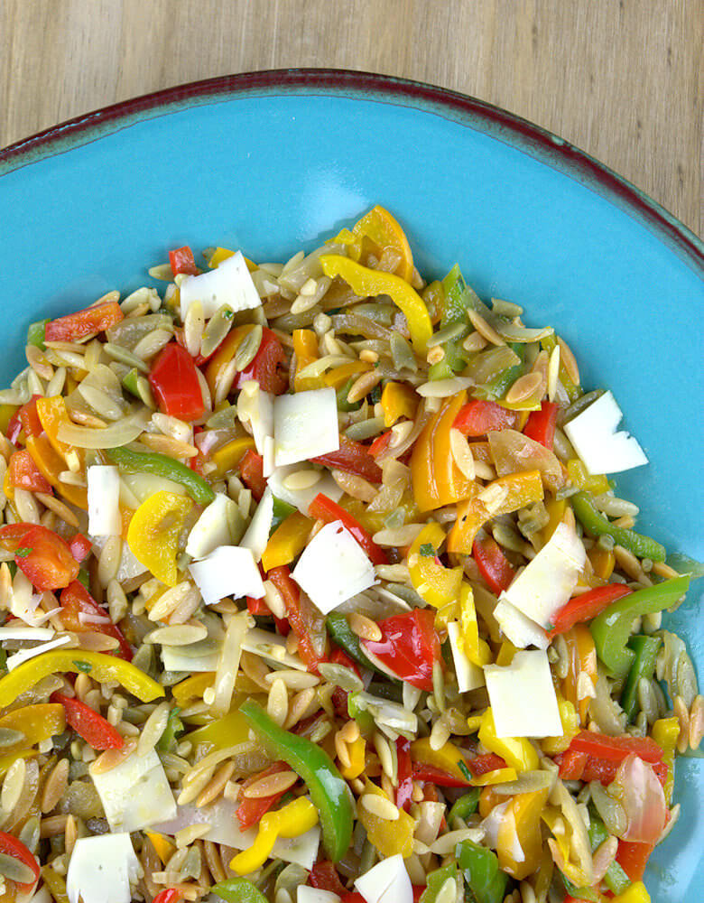 Top down close up of colorful salad