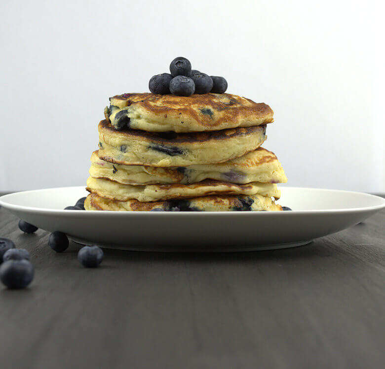 Picture of stack of blueberry pancakes