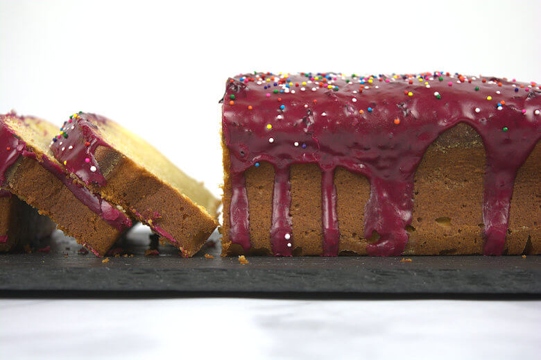 Picture of sliced Blueberry-Glazed Lemon Yogurt Cake