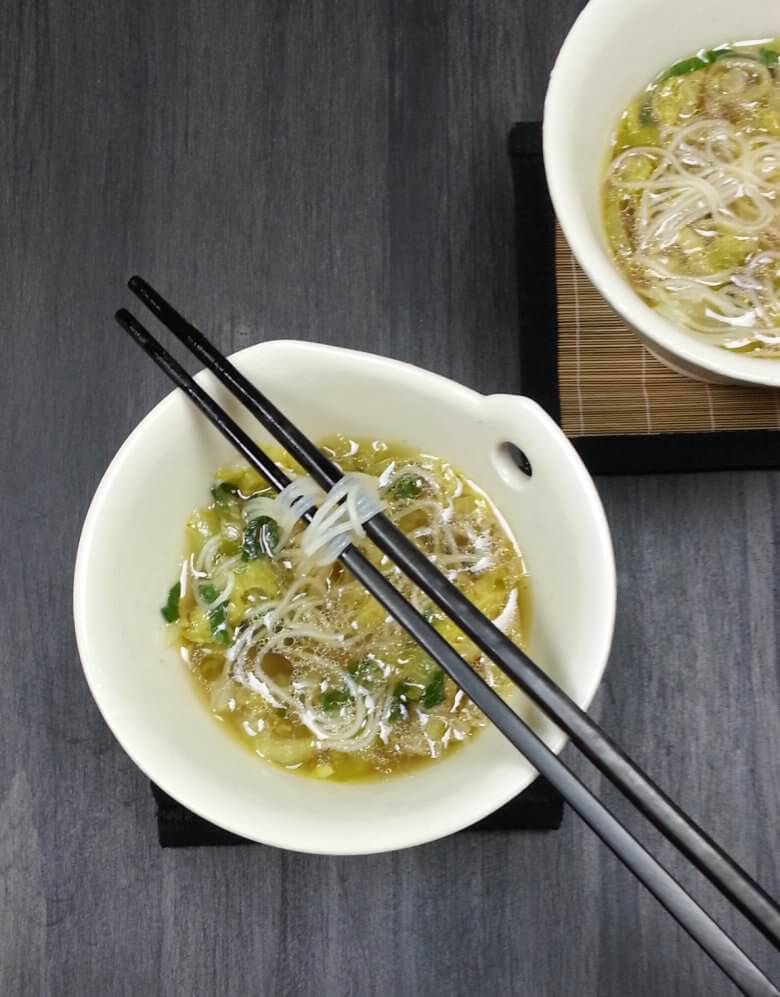 Picture of Bok Choy Cabbage Soup with Rice Noodles, top down