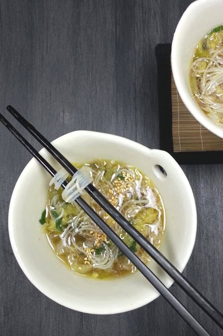Picture of Bok Choy Cabbage Soup with Rice Noodles with sesame seeds
