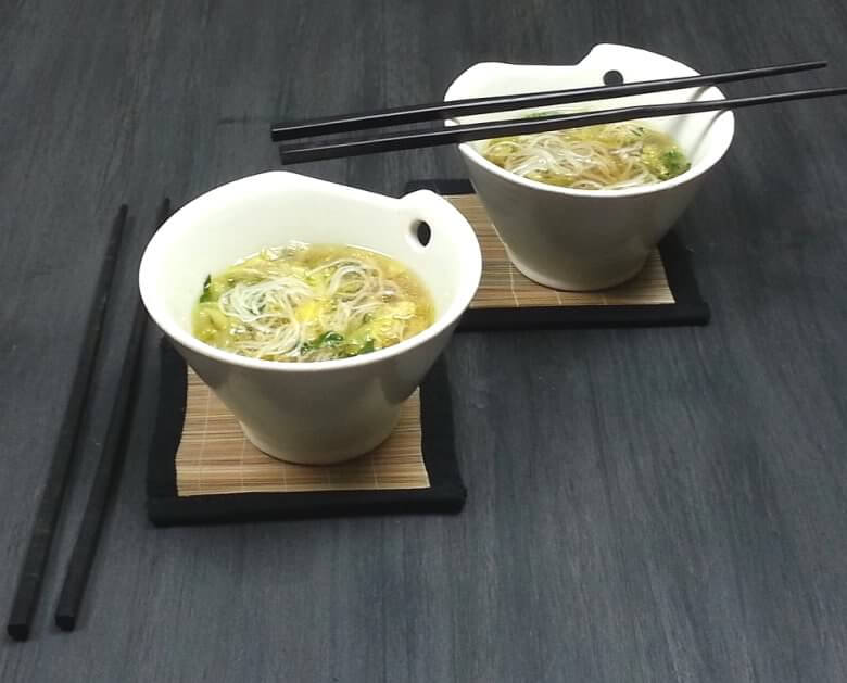 Picture of 2 bowls of Bok Choy Cabbage Soup with Rice Noodles