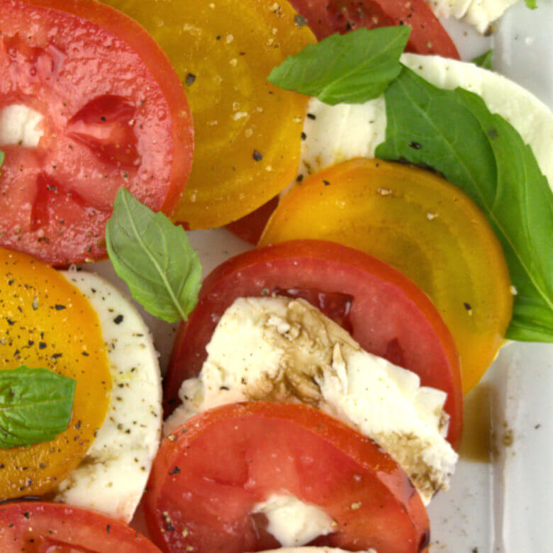 Close up picture of Caprese Salad with Yellow Beets