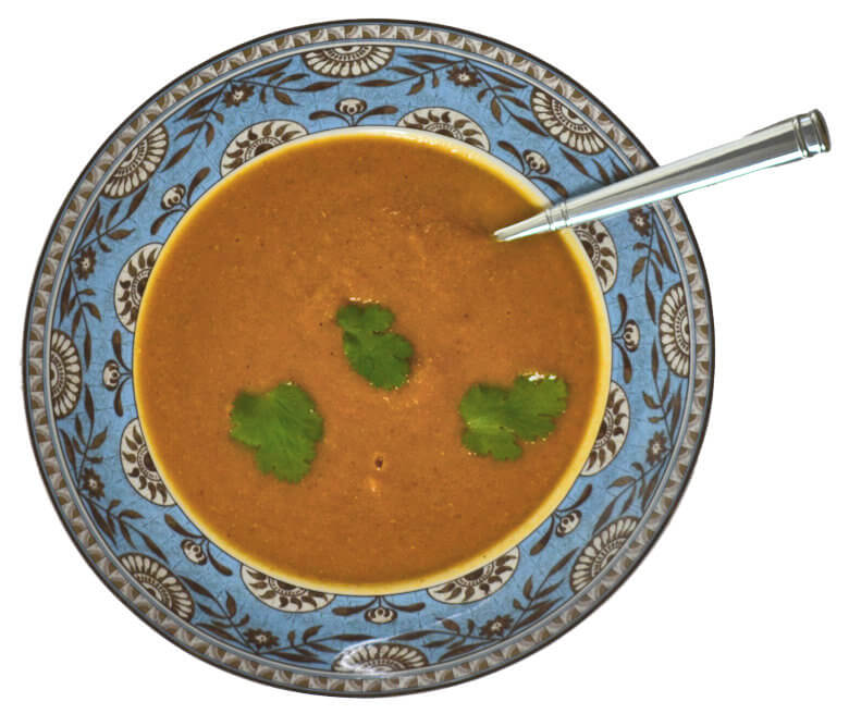 Picture of Carrot Lentil Soup with Cilantro, top down