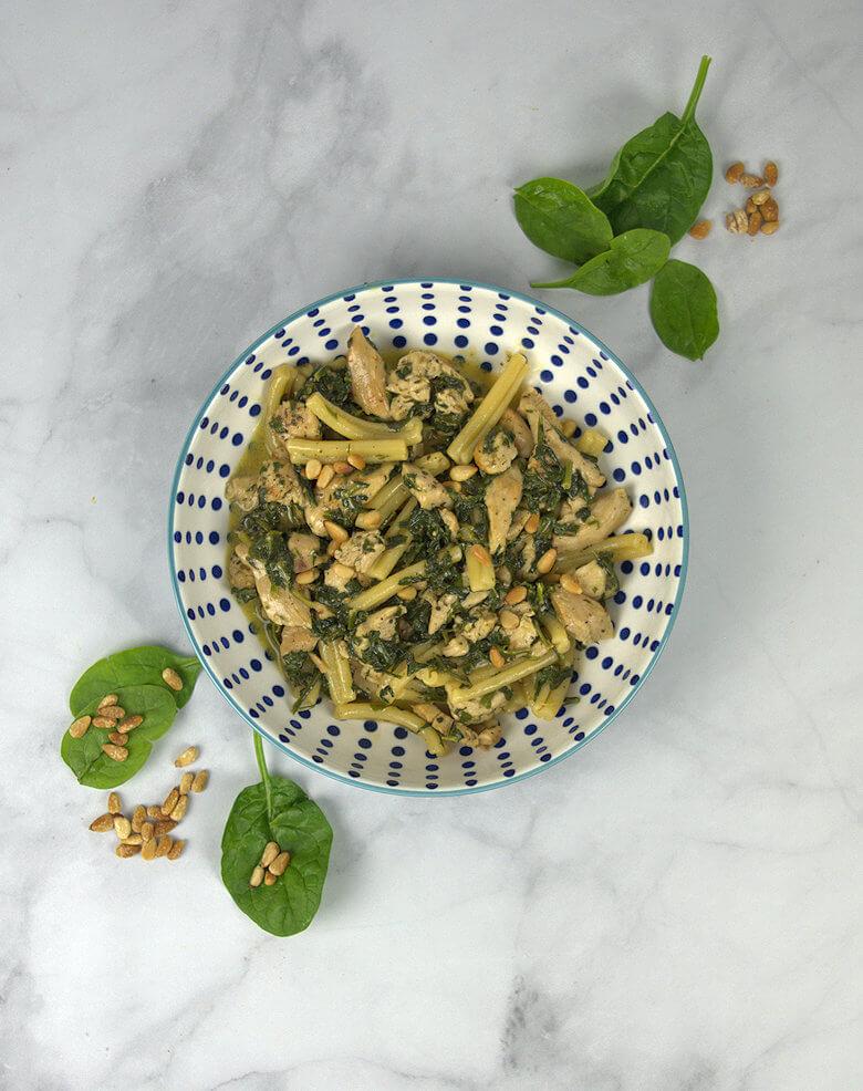 Top down picture of Caserecce with Turkey, creme fraiche and spinach