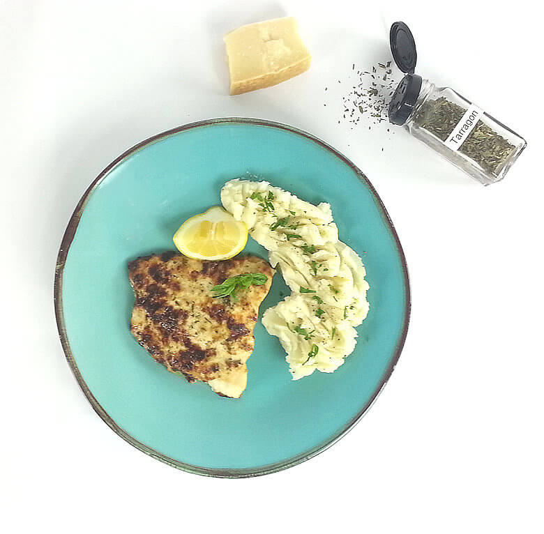 Picture of Catfish with Parmesan and Herb Crust on a plate