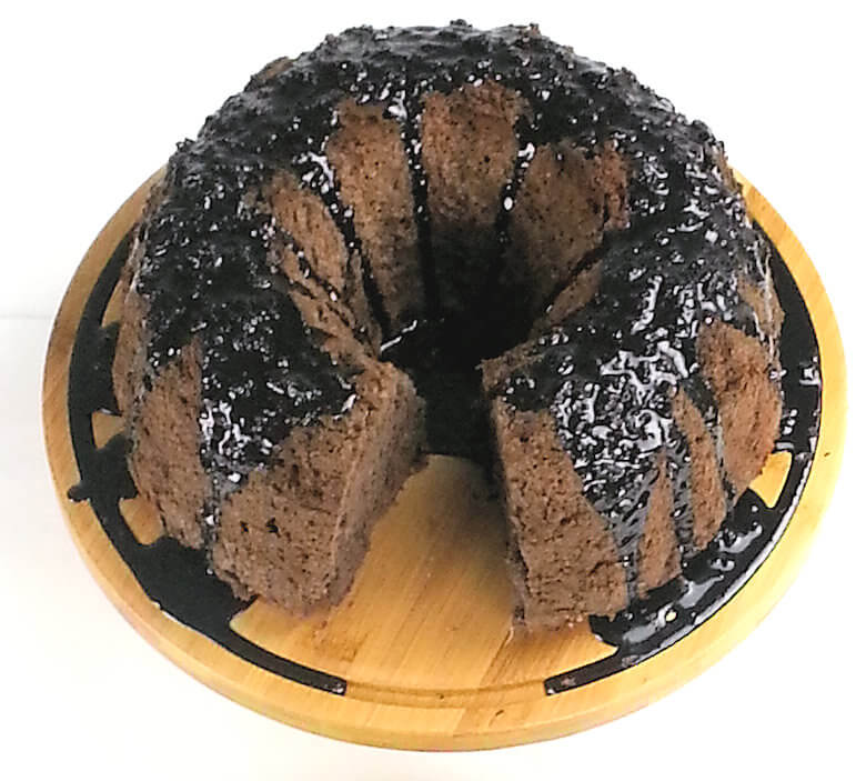 Top down picture of Chocolate Angel Food Cake