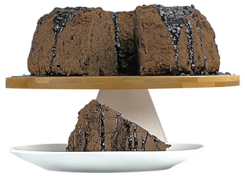 Picture of Chocolate Angel Food cake with white background