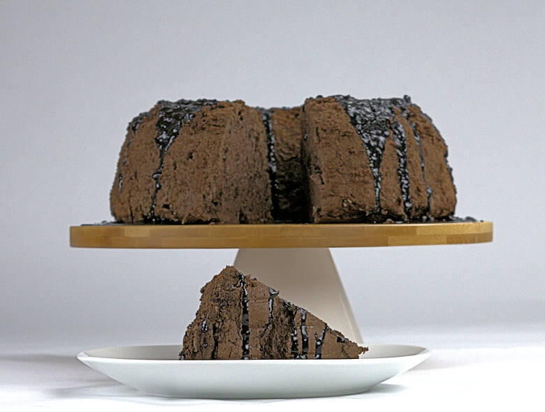 Picture of Chocolate Angel Food cake with gray background