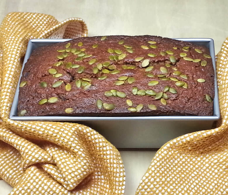 Picture of Chocolate Banana Pumpkin Bread in baking dish