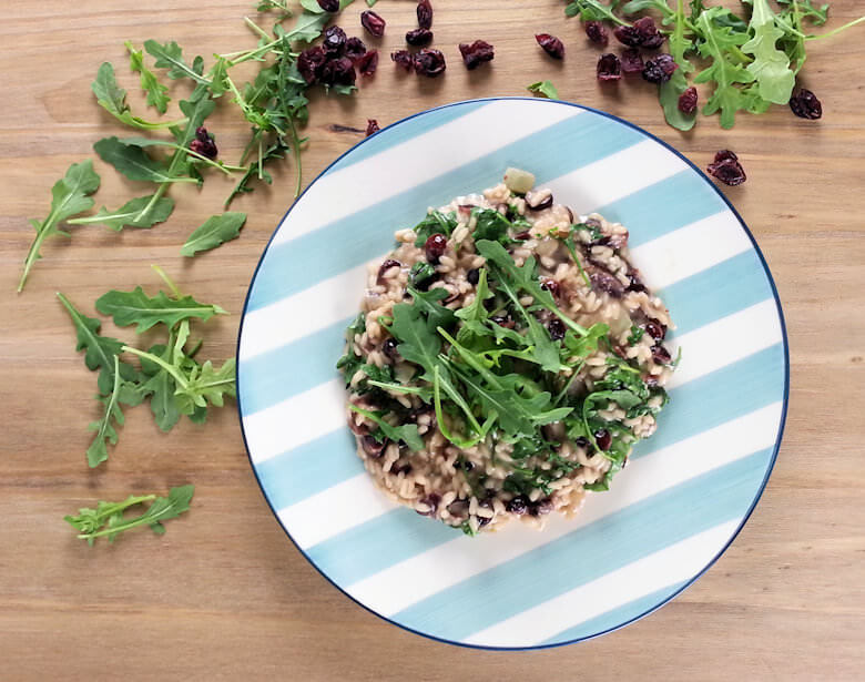 Coconut Risotto with Cranberries and Arugula Top Down