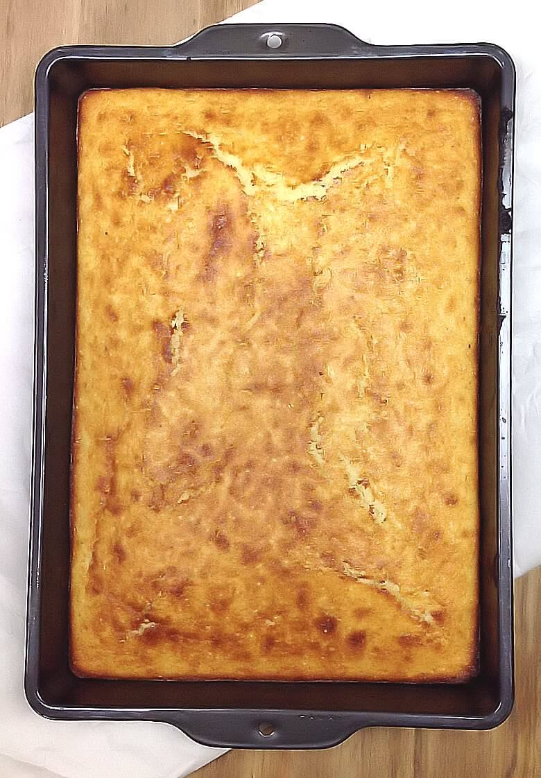 Picture of Corn Bread, straight from the oven, in baking dish