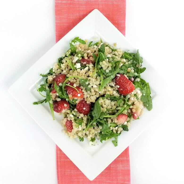 Picture of Couscous Arugula Strawberry Salad, top down