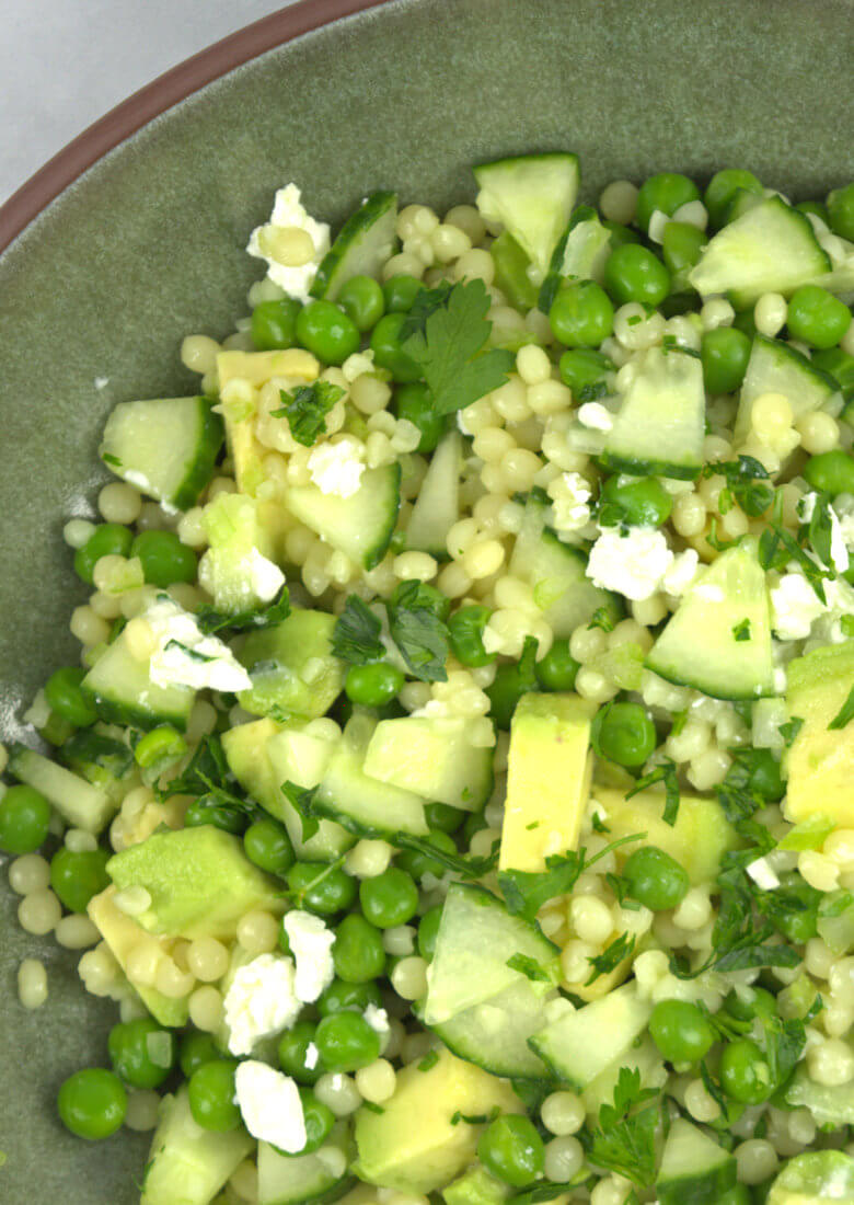 Close up of Couscous Salad with Feta & Greens