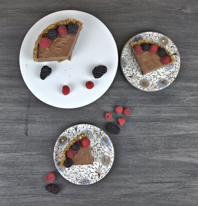 Picture of wedges of cream and egg free chocolate mousse pie