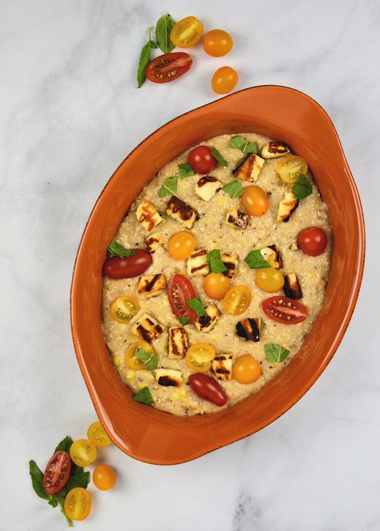 Picture of Creamy Grits with Halloumi and Tomatoes