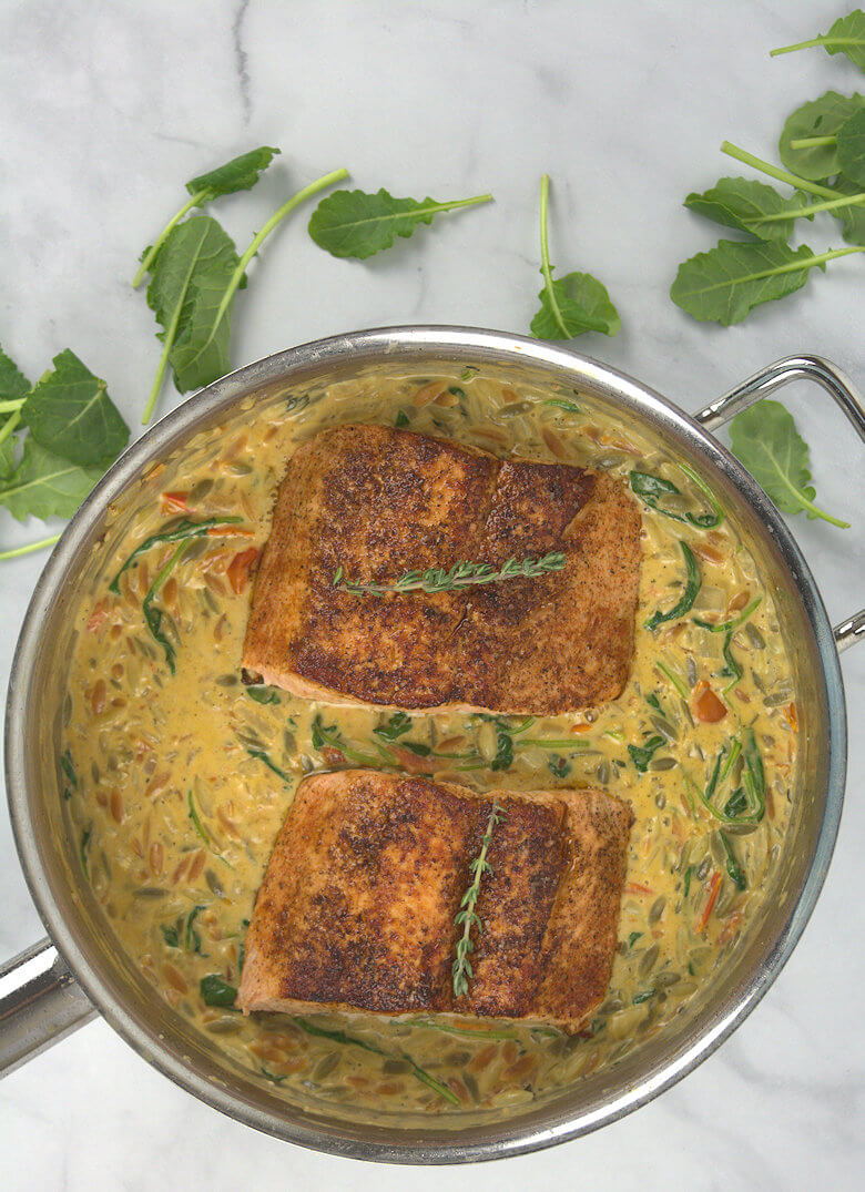 Picture of Creamy Kale and Salmon in Orzo