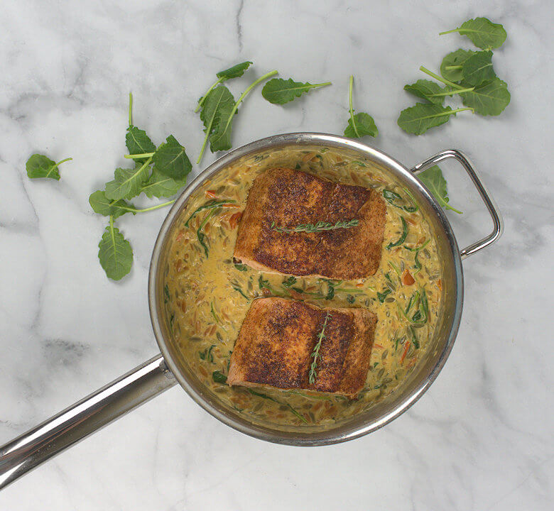 Picture of Creamy Kale and Salmon in Orzo in skillet