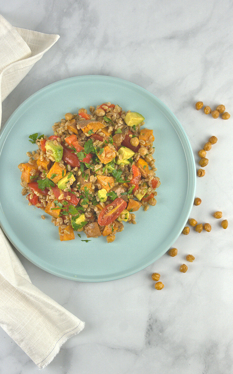 Picture of Farro with Roasted Potato, Peppers & Chickpeas, top down