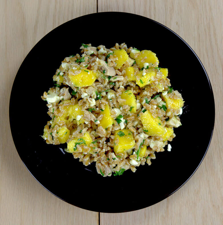 Farro Salad with Mango, Chicken and Feta1