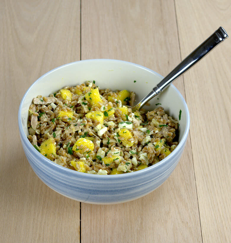 Farro Salad with Mango, Chicken and Feta2
