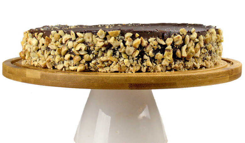 Picture of hazelnuts in crust of Chocolate cake