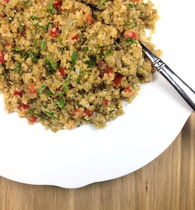 close-up of Freekeh with Cauliflower Rice