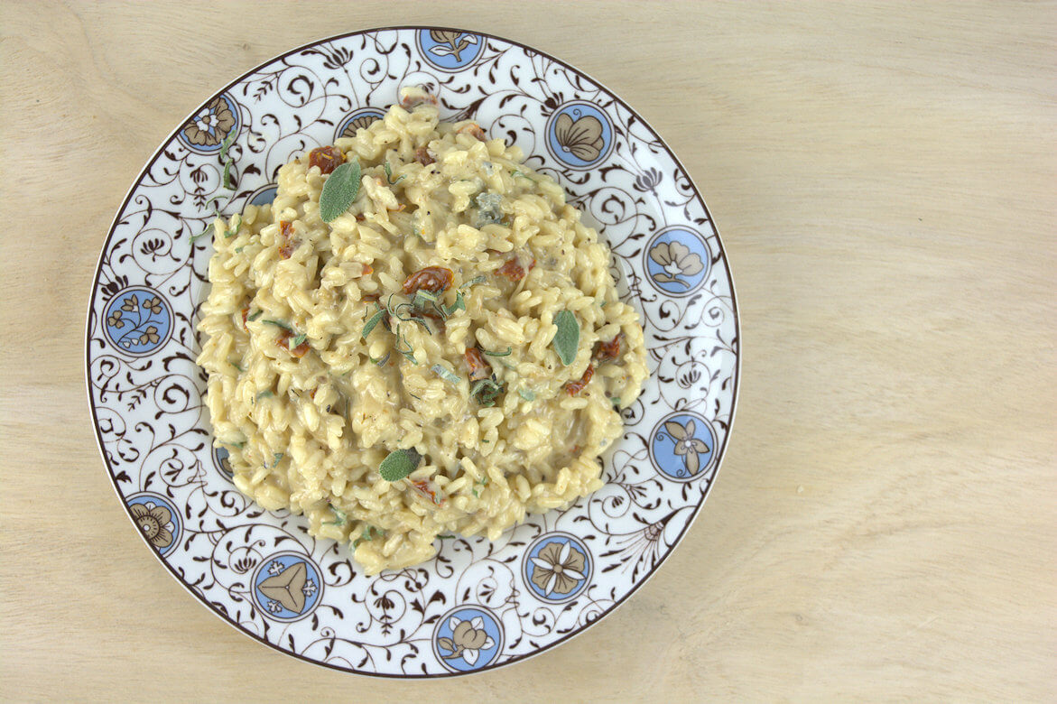 Picture of plate with Gorgonzola Risotto with Sundried Tomatoes