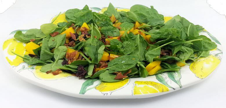 Grilled Mango Spinach Salad Cranberries