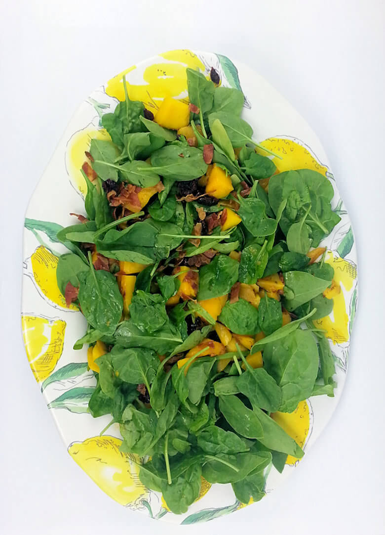 Grilled Mango Spinach Salad Cranberries Top