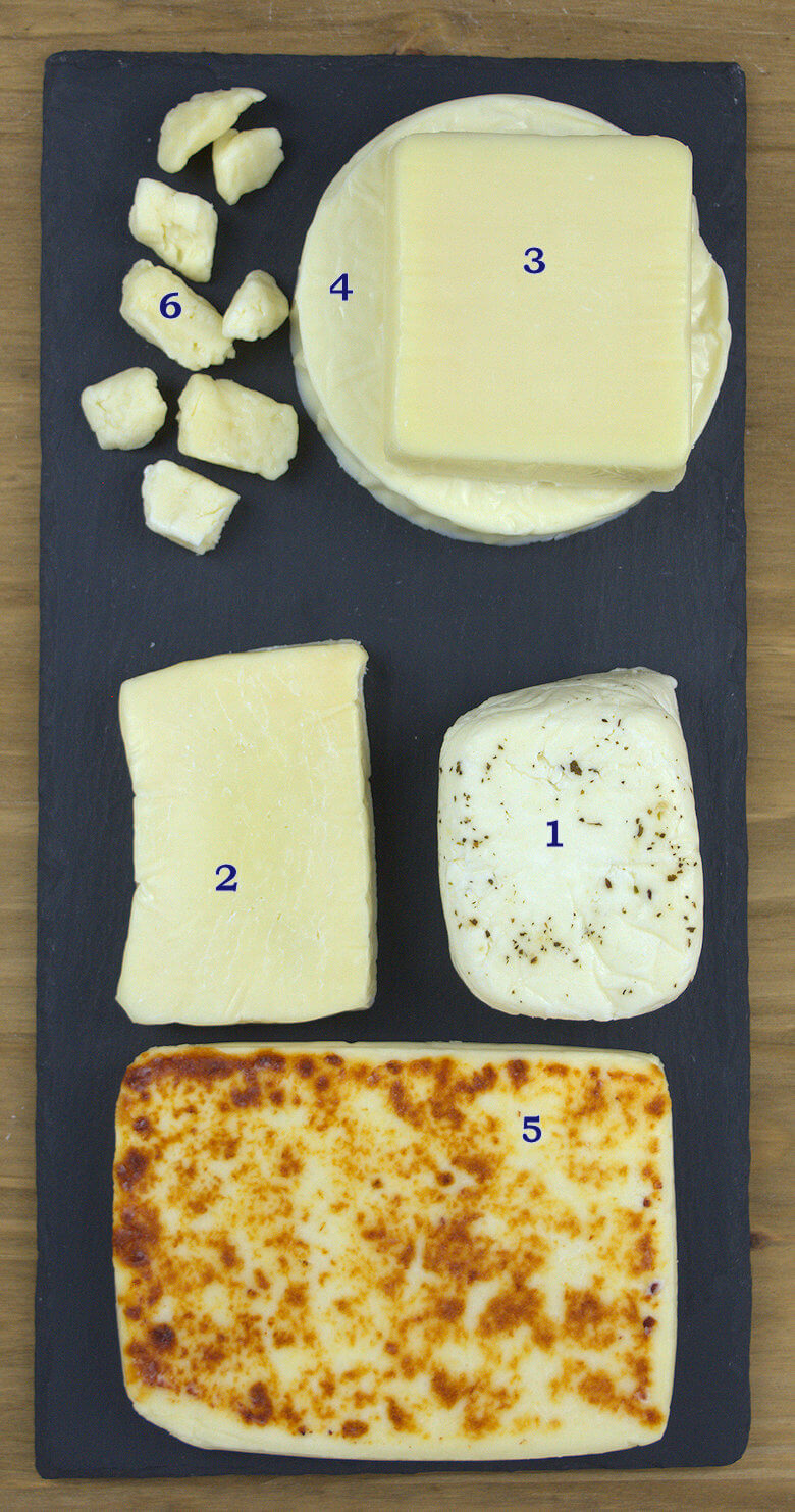 Variety of grilling cheeses, numbered for this quick guide of grilling cheese