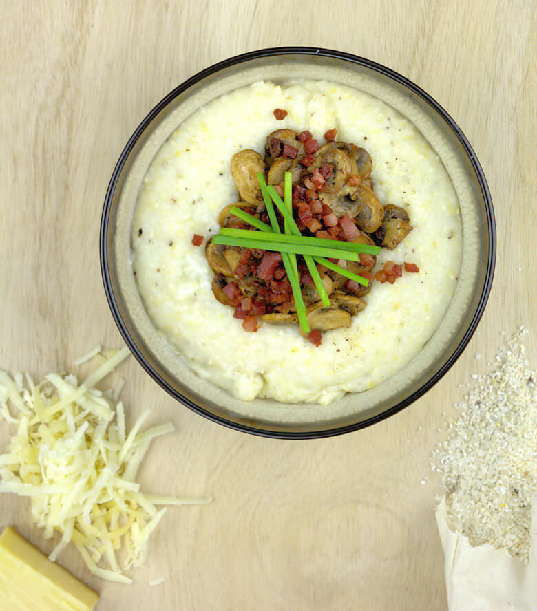 Gruyere Grits with Mushrooms and Crispy Bacon