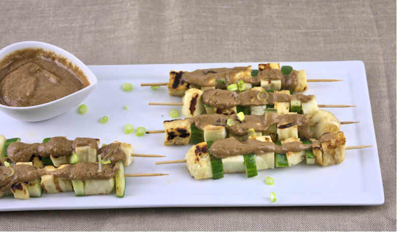 Picture of Halloumi Cucumber Kebabs with Peanut Sauce