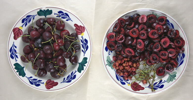 Picture of whole cherries and pitted cherries