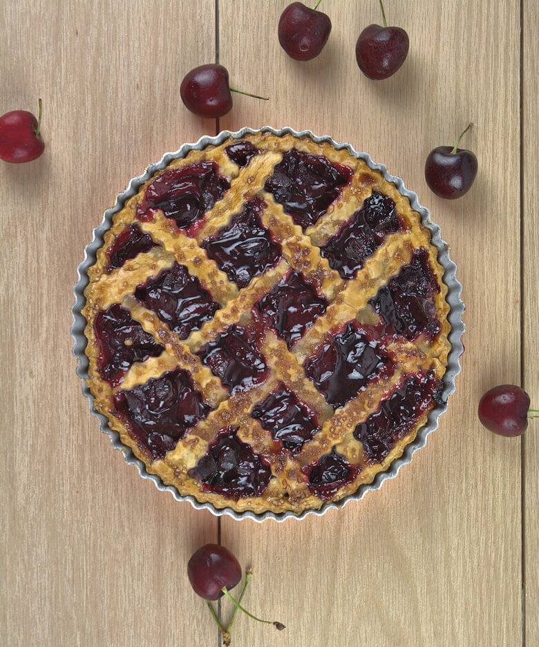 Picture of Homemade Cherry Pie for Two, Top Down