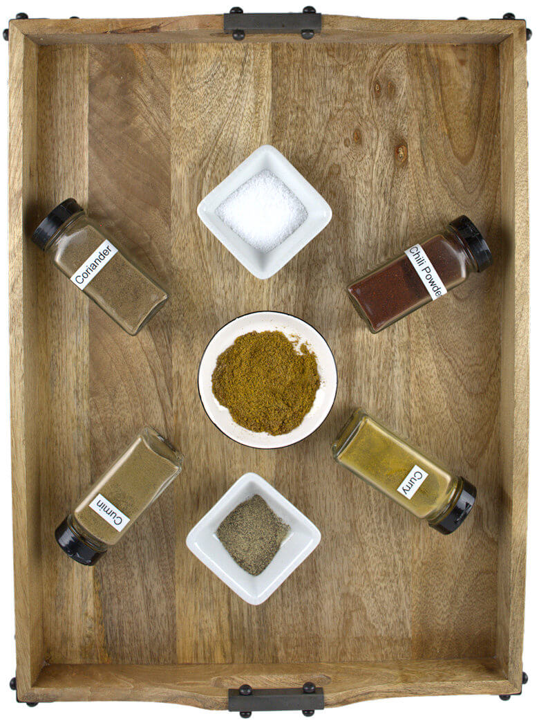 Top down picture of spices involved in Hot or Mild Fish Spice Rub
