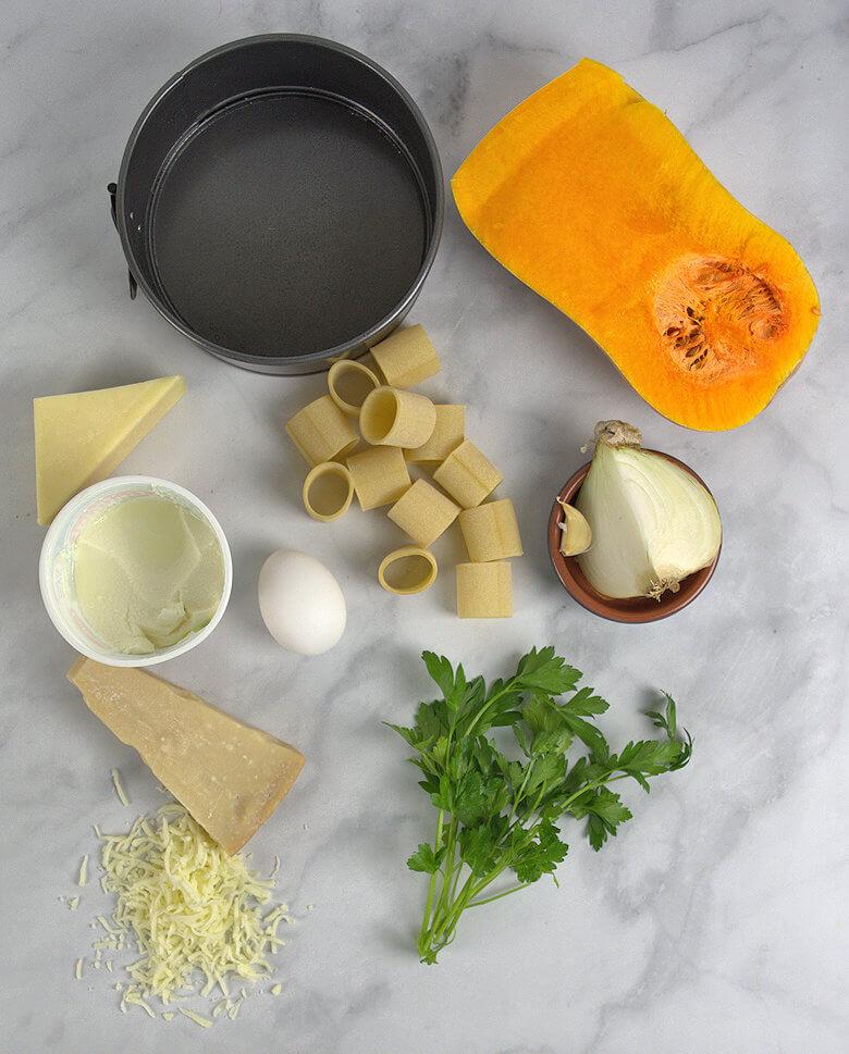 Ingredients pasta pie