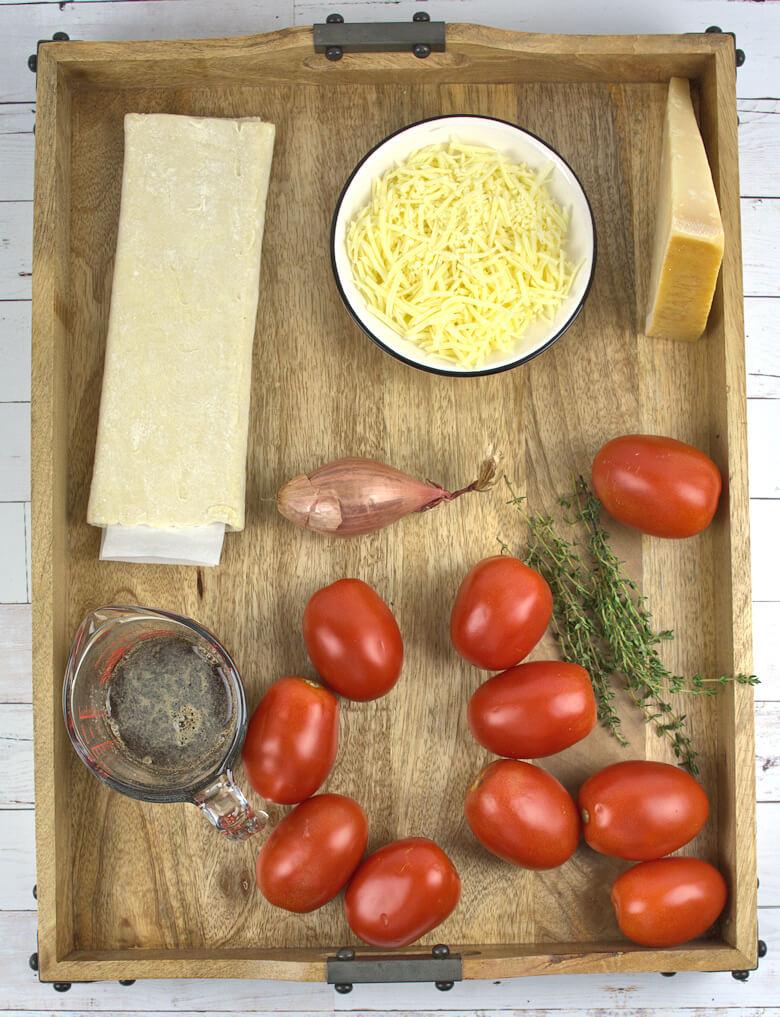 Ingredients upside down tart