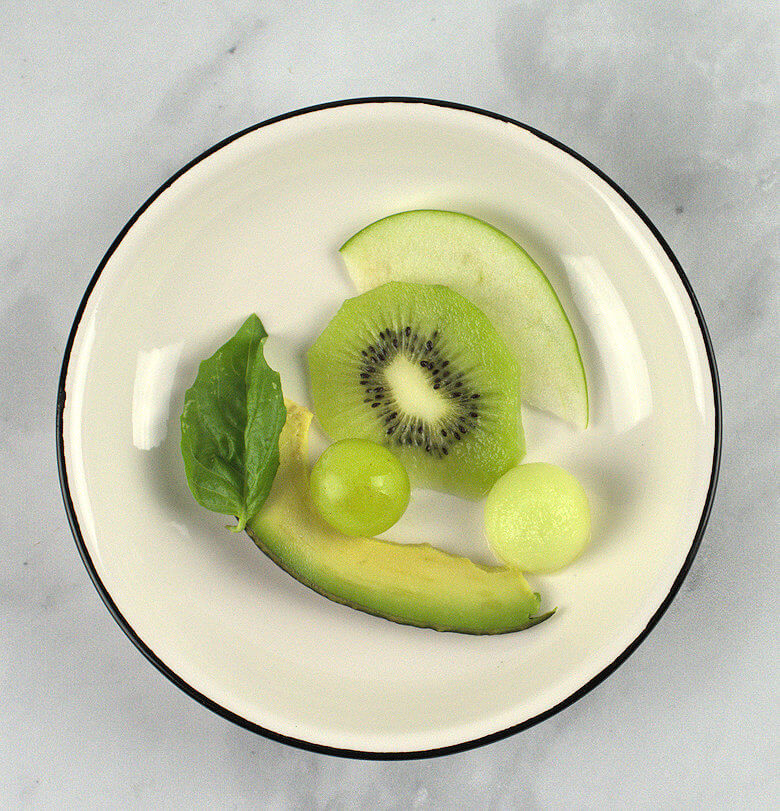 Picture of slices of each fruit that is part of Juicy Green Fruit Bowl Salad