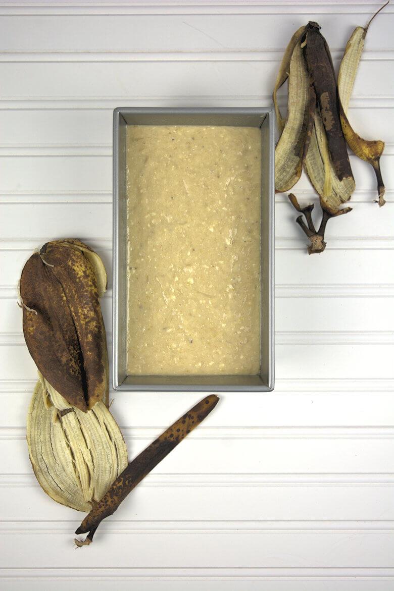 Batter with banana peels