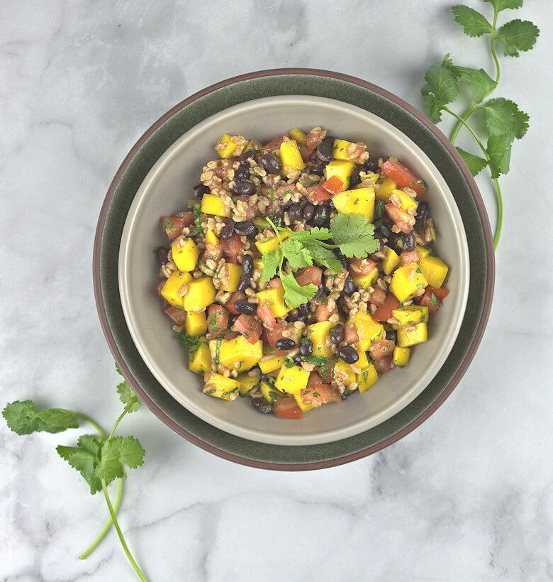 Top down picture of mango tomato black bean salad