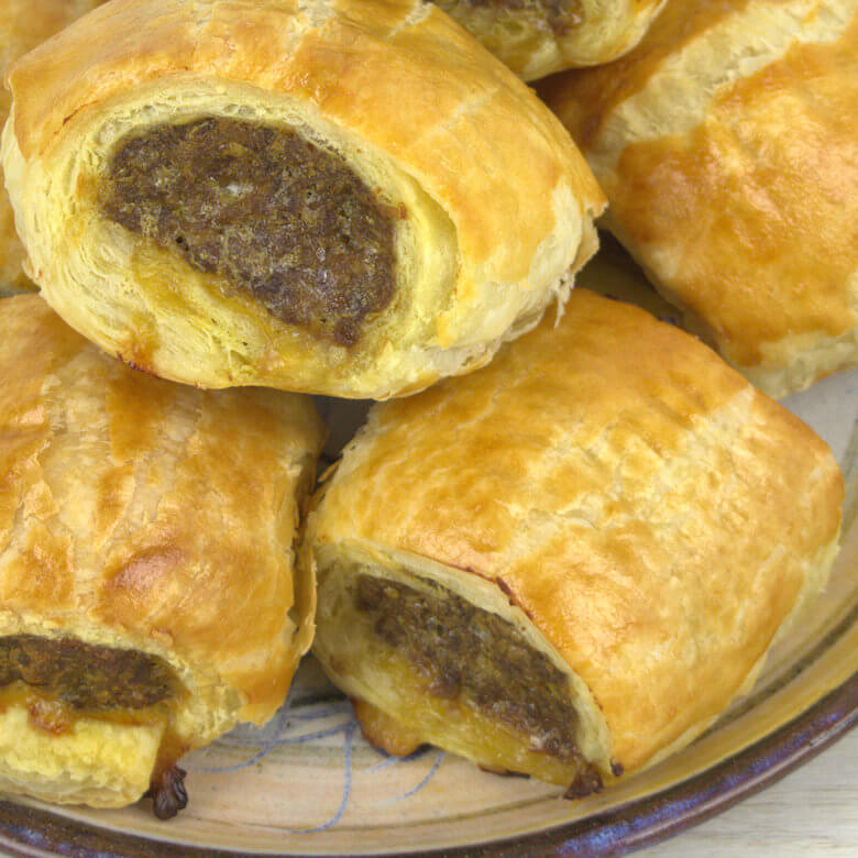 Close-up picture of Mini sausage rolls.