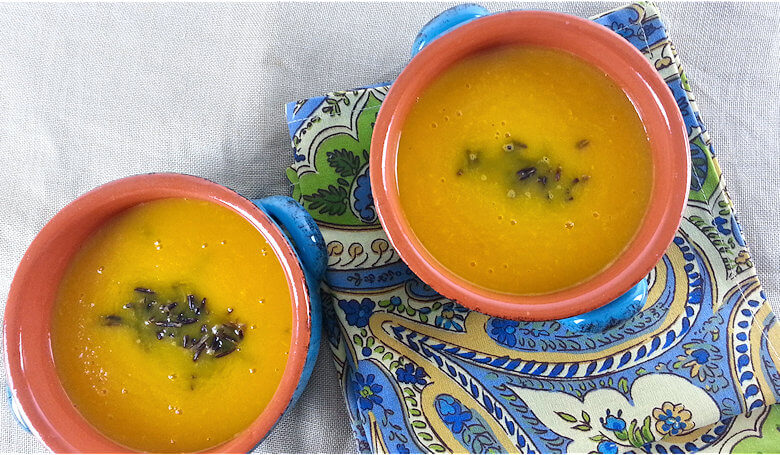 Picture of 2 bowls of Orange and Yellow Pepper Soup