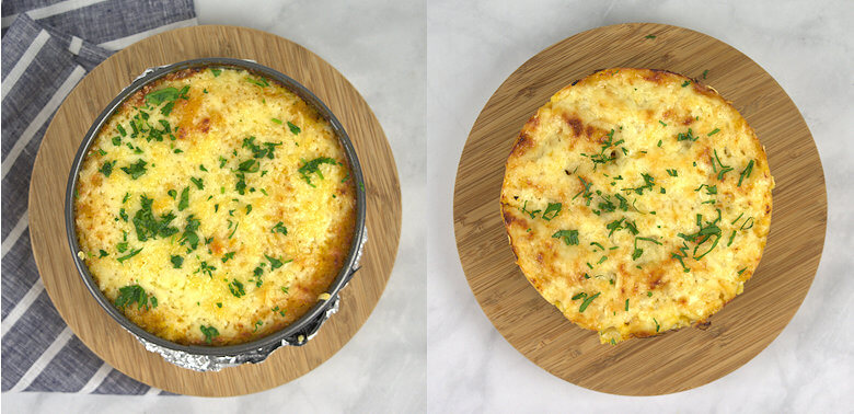 Top picture of pie in dish and out of dish on board